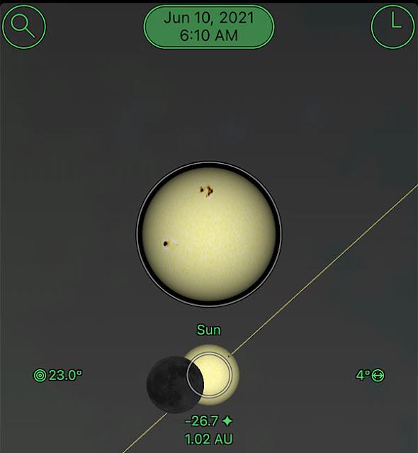 Sky Safari Pro screenshot for sunrise eclipse in Pittsburgh, PA (Source: Palmia Observatory)
