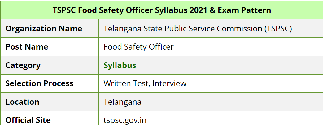 TSPSC Food Safety Officer Syllabus