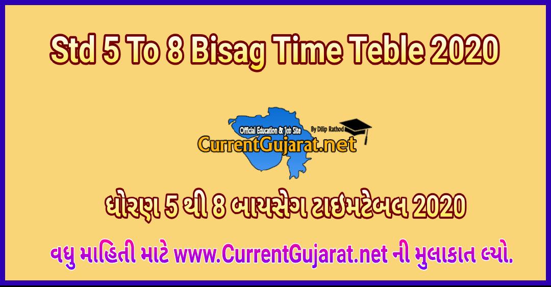 Std 5 To 8 BISAG Time Table 2020