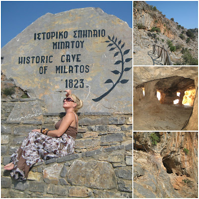 Pred stazom za pećinu, staza i ulaz u Milatos pećinu