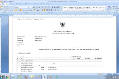 Contoh Format Surat Pengusulan Pensiun PNS