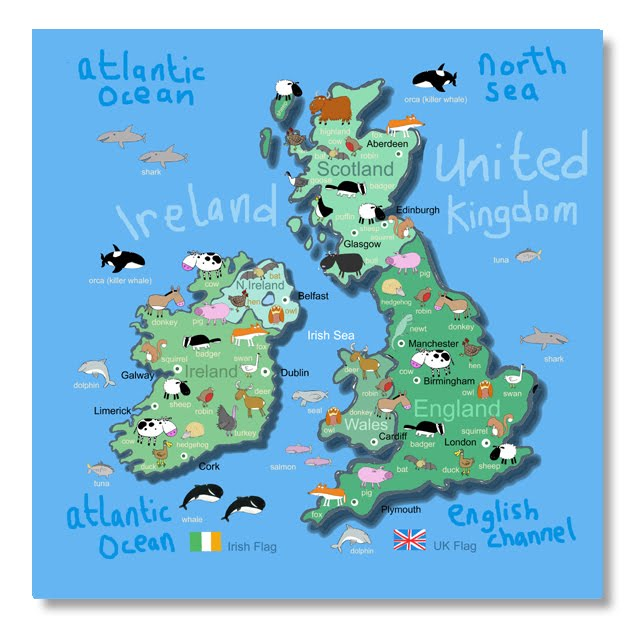 Kids Map Of England.Its S A Jungle In Here Uk Ireland Map For Kids