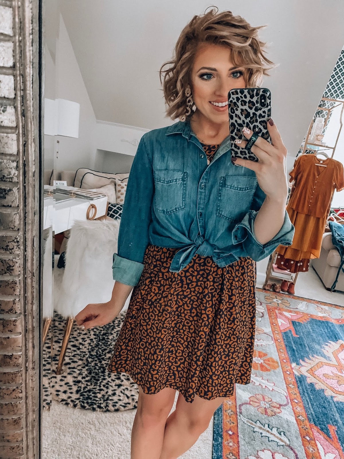 Old Navy Leopard Dress + Chambray Top Tied at Waist - Something Delightful Blog #affordablefashion