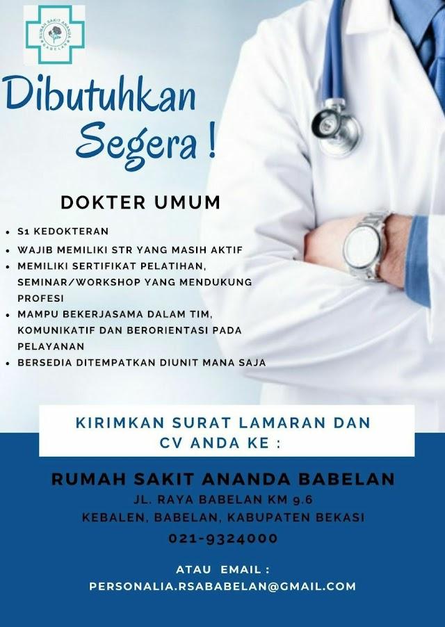 Loker Dokter Rumah Sakit Ananda Babelan , Bekasi