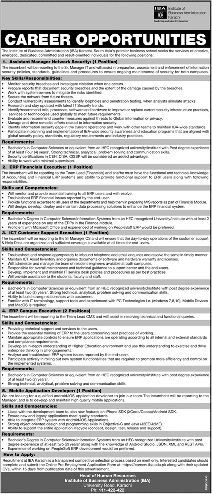 Institute Of Business Administration IBA jobs Feb 2018