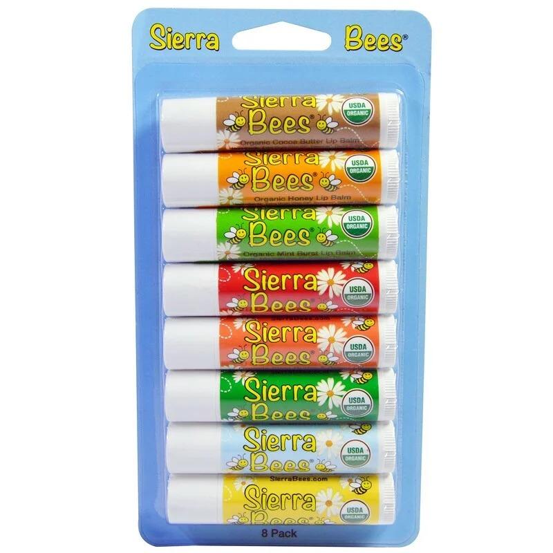 Sierra Bees, Набор органических бальзамов для губ, 8 в упаковке, 4,25 г (15 унций) каждый