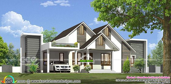 Modern mixed roof single floor home 1881 sq-ft