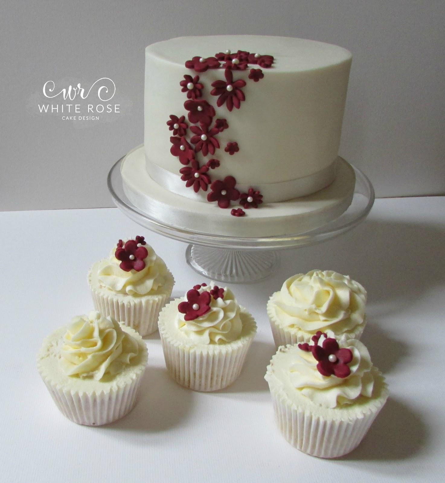 Marsala Blossom Cupcakes for a Wedding - White Rose Cake Design