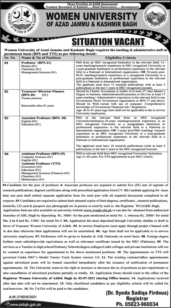 www.wuajk.edu.pk Jobs 2021 - Women University Of Azad Jammu & Kashmir Jobs 2021 in Pakistan