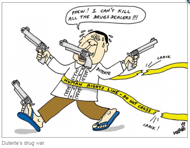 "A Kuwait-based newspaper is taking flak from netizens when pictures of its editorial cartoons featuring the Philippine President Rodrigo Duterte made rounds in the internet. The Kuwaiti Times editorials paint the highly popular leader in bad light. He was depicted in various personas such as a butcher, an insane person, a murderous villain and a moronic terrorist.  The images below are arranged in chronological order. The dates when the images were published are shown so you can check Kuwait Times' website to see for yourself.  May 7, 2016  The editorial cartoons begin innocently enough showing President Duterte as a fighter casting his ballot for the Presidential Elections of 2016.   May 10, 2016 - Election Day  Upon winning the elections, President Duterte makes it again in the editorial cartoon section. This time, the Kuwait Times' shows the President pointing a gun and trash-talking some ""punk,"" while what seems to be blood is seen in the bottom left corner.   August 29, 2016  Things get malicious with Kuwait Times as they portrayed a leader of an independent nation as a butcher, about to hack the Philippines in the form of a bloody piece of hanging meat.  September 27, 2016  The President is depicted wearing slippers, with his mouth, both hands and a foot ""holding"" a gun. A text bubble implies that Duterte is frustrated for not being able to kill all drug dealers, a statement so far from reality.   October 11, 2016  The Kuwait Times mocks President Duterte again, this time along with US President-Elect Donald Trump. The paper depicts the two world leaders as a pimple on the face of a globe. The Kuwait Times editor seems to disagree about the populist views that helped elect both Duterte and Trump into office.   October 24, 2016  Misinterpreting the President's statements on addicts, the Kuwait Times editors insulted the still popular leader, depicting him as an insane person in an asylum, complete with a straitjacket. President Duterte has since apologized to the Jewish community regarding the misunderstood statement.   February 01, 2017  While not directly attacking the President, the newspaper wrongly depicts the Philippine Government's war on drugs as war on the poor. The image shows a member of the Philippine National Police shooting a stray dog dead. The editorial also insults Filipinos, depicting them as dogs. Clearly, the editors of this newspaper are not conducting enough research before publishing their work.  March 04, 2017  As the Philippine lawmakers are debating the reinstatement of death penalty, the Kuwait Times editors cannot help but poke fun at the Philippine President. It depicted Duterte trash-talking the bullet-riddled body of what could only be assumed as a criminal. Around the guys neck is a noose, as the paper's editors wanted to lay all extra-judicial deaths to the President.  It is ironic that a paper from Kuwait will criticize the leader of an independent country regarding death penalty, when their own country of Kuwait executes more people than most other countries except for a few.   April-30-2017  Not happy with depicting the Philippine leader as an insane person, the Kuwait paper repeats the insult, this time pairing Duterte with Trump. The editorial mischievously draws Duterte and Trump as two crazy blabbermouths who have so much in common. The two are shown wearing straitjackets.   May 30, 2017  At the height of the Marawi Crisis, while other countries were offering their support to the Philippines, the Kuwait-based newspaper ups its malicious depiction as it publishes a malevolent piece of editorial cartoon likening the Philippine President with other Islamic militants, and making the insult one step higher by labeling Mr. Duterte as a moron.  What do you think of the Kuwait Times? Do you agree with their assessment? Do you think the editor-in-chief should make a public apology? What about the ""artist"" who's supposedly done the drawings, should he lose his job?  Tell us what you think! Please comment and share this article! DISCLAIMER: All editorials were taken from Kuwait Times website, they own the rights to it, but they DO NOT have the right to insult our President! If you agree with me, drop them a message here >>> Kuwait Times Facebook Page."