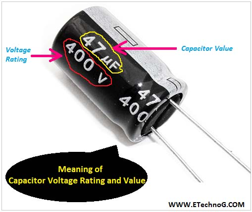 Meaning of Capacitor Voltage Rating and Value, voltage rating of capacitor