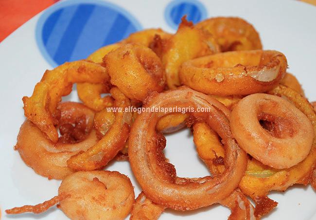 Aros de cebolla fritos
