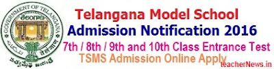 Telangana Model School Admission 7th/8th/9th/10th Class 2018 TSMS Admission Test Notification, Online Application form Download