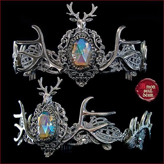 couronne cerf faune tiare féerique cristal AB pagan wicca bois de cerf elfique diadème mariage médiéval