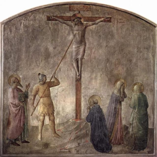 Representación cristiana del momento en que el Centurión Romano Cayo Casio Longinos clava la lanza en el costado de Jesús.