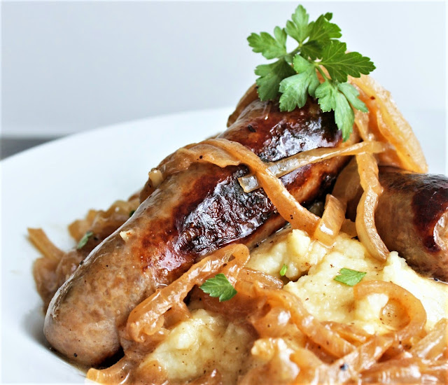 Sausage and Mash with Beer & Onion Gravy