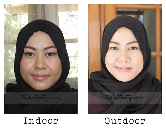foto indoor dan outdoor saat menggunakan THEFACESHOP Oil Control Water Cushion