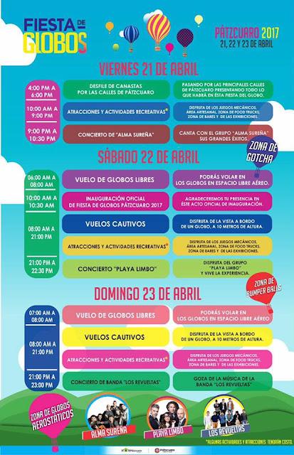 Programación de la Fiesta de Globos en Pátzcuaro 2017