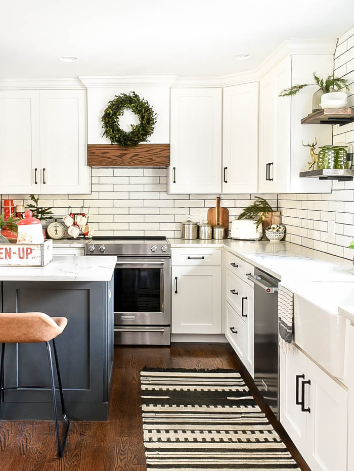 Neutral vintage modern Christmas kitchen
