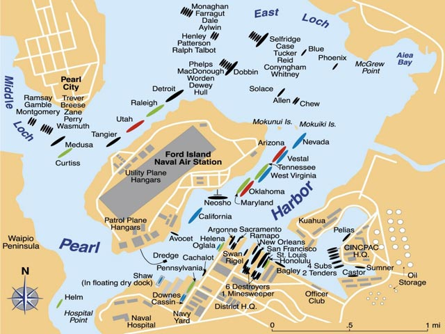 Map of Pearl Harbor before the 7 December 1941 raid worldwartwo.filminspector.com
