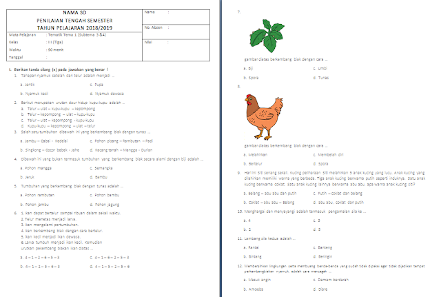 Soal PTS/UTS Kelas 3 SD/MI: Tema 1 Subtema 3-4