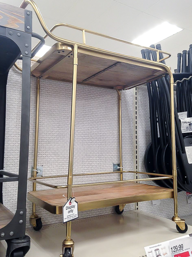 wood and brass bar cart from target
