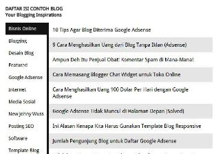 Daftar Isi Blog Fast Loading