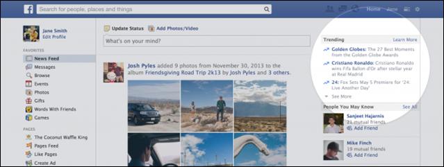 Facebook trending screenshot