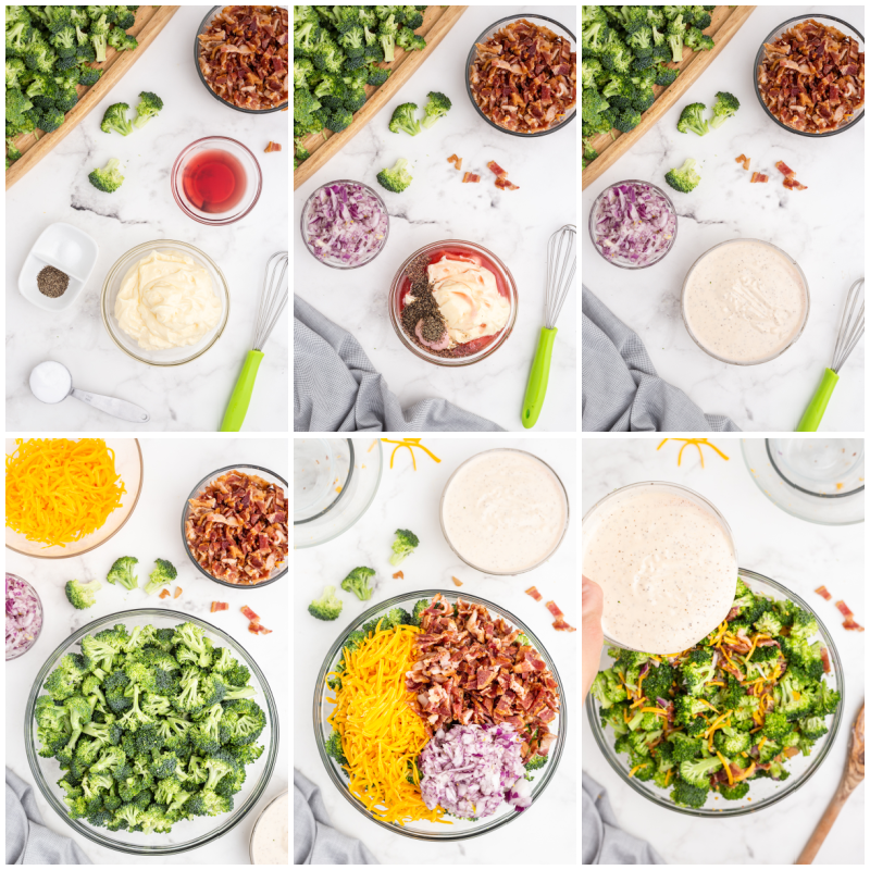 Six photos of the process of making keto loaded broccoli salad.