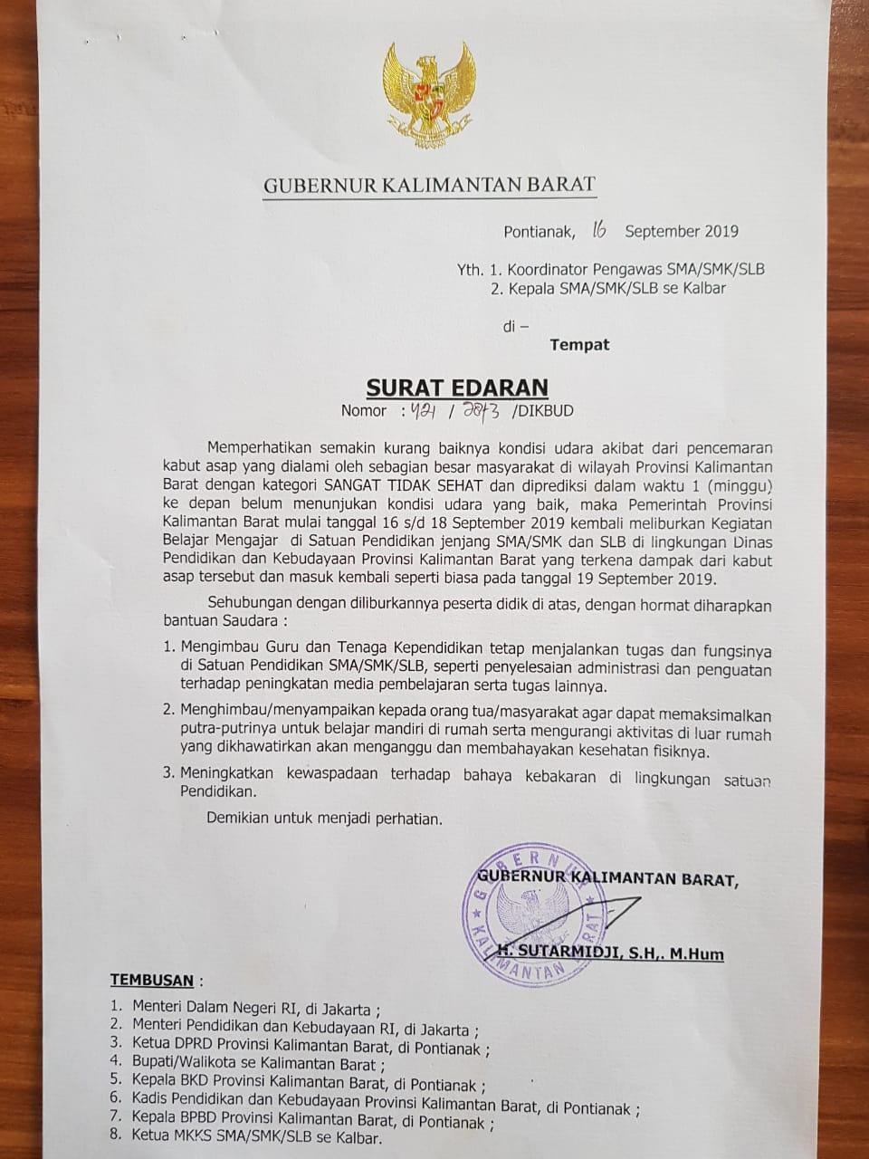 Kalimantan Barat Dilanda Kabut Asap Kegiatan Belajar
