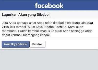 Notifikasi facebook Akun Saya Di bobol