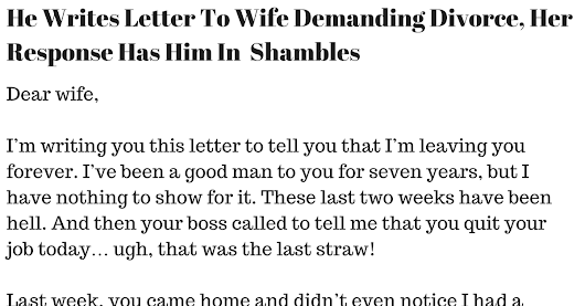 He Writes Letter To Wife Demanding Divorce, Her Response Has Him In Shambles