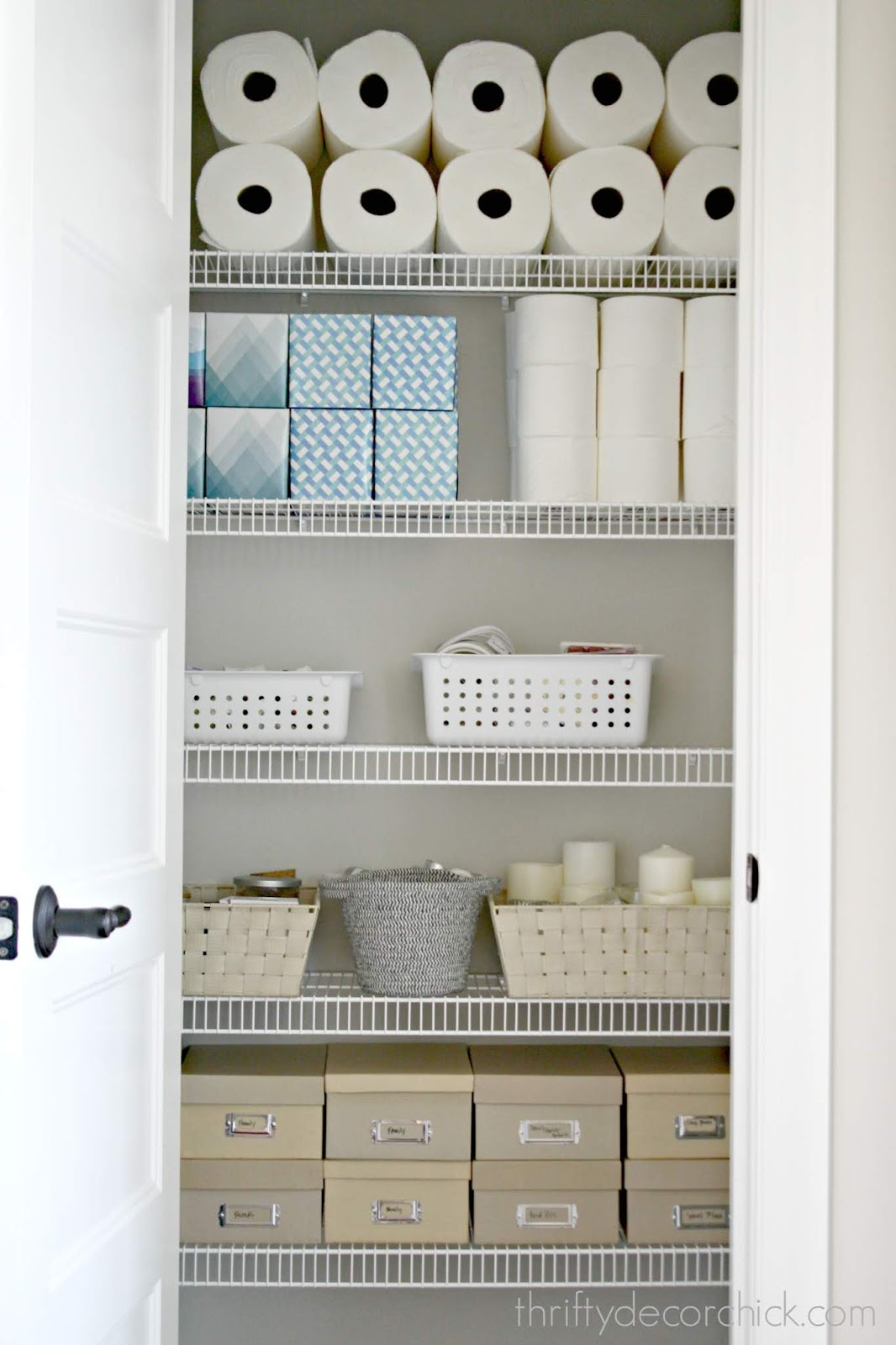 Organized linen and mud room closets