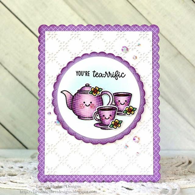 Sunny Studio Stamps: Tea-riffic Frilly Frame Dies Customer Card by Larissa Heskett