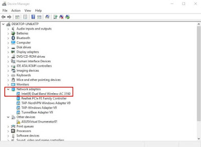 Device Manager expand 'Network adapter'