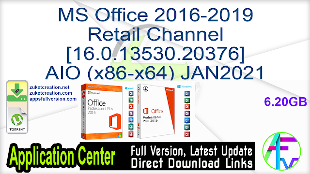 MS Office 2016-2019 Retail Channel [16.0.13530.20376] AIO (x86-x64) JAN2021 + Activator