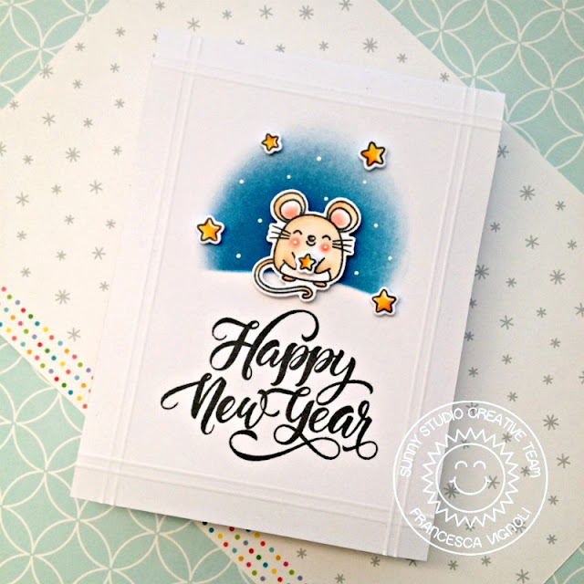 Sunny Studio Stamps: Season's Greetings Merry Mice Happy New Year's Card by Franci Vignoli