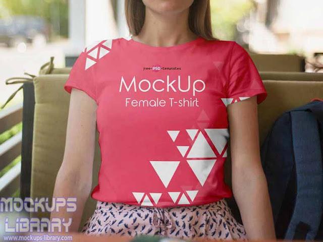 female t-shirt mockup psd
