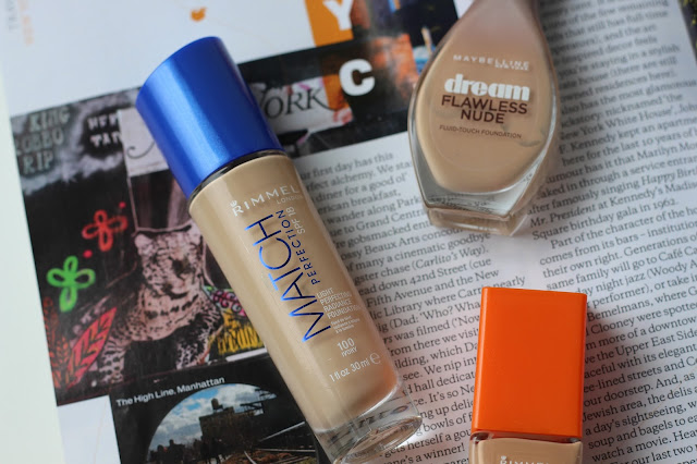 Rimmel Match Perfection Foundation, Rimmel Wake Me Up Foundation, Maybelline Dream Flawless Nude Foundation