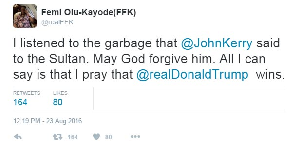 FFK blasts John Kerry over visit to Nigeria, predicts Donald Trump becomes next US president