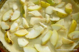 разложить яблоки на тесте