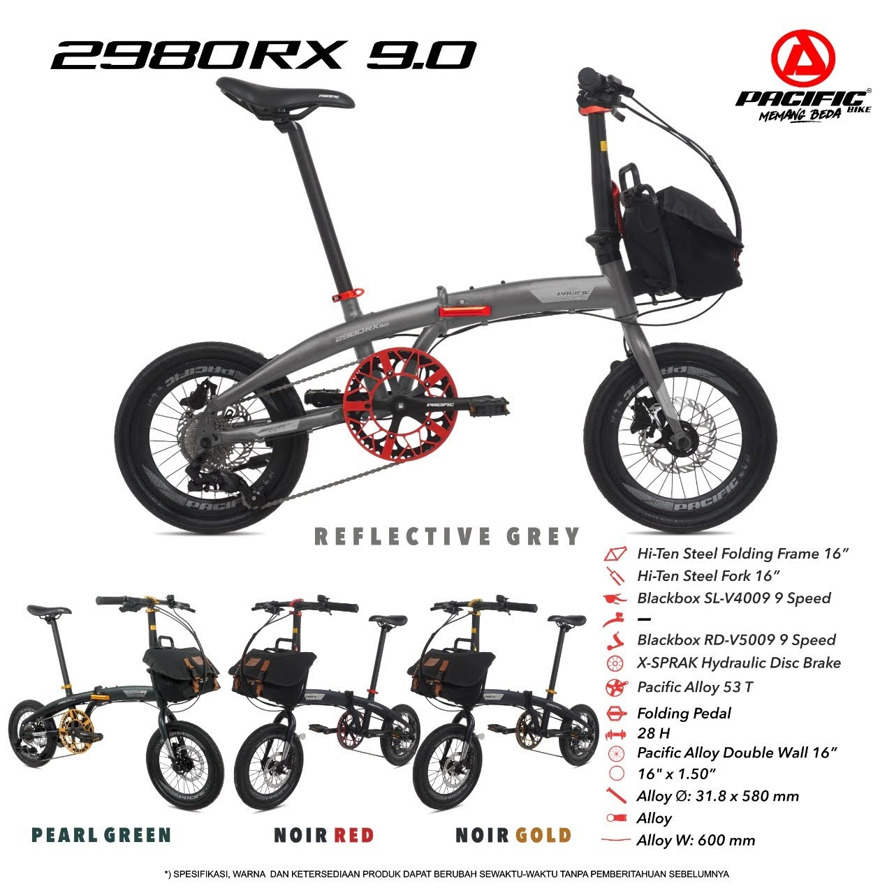 Tokosarana Mahasarana Sukses Sepeda Lipat Pacific 2980rx 9 0 16 X 1 50 Steel 1x9sp Hydraulic Disc Brake