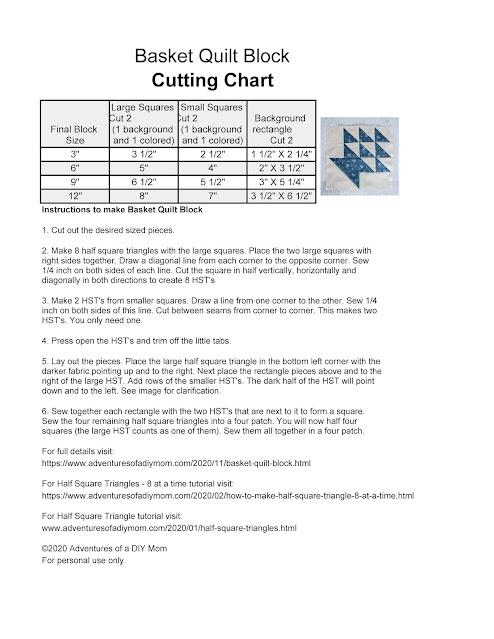 basket quilt block cutting chart
