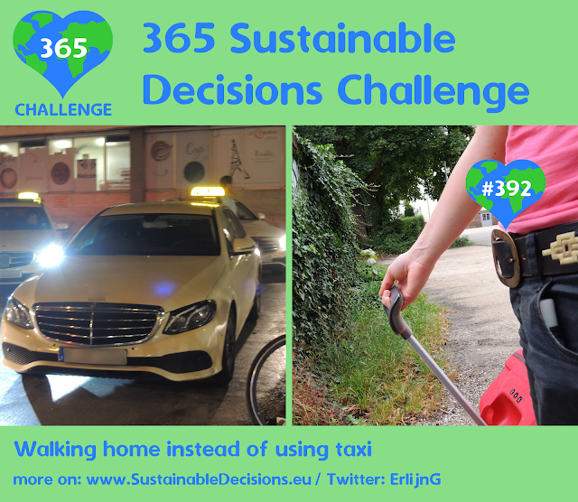 #392 - Walking home instead of using taxi, Saving energy, Relevant at work - traveling,Saving money, sustainable living, sustainability, climate action