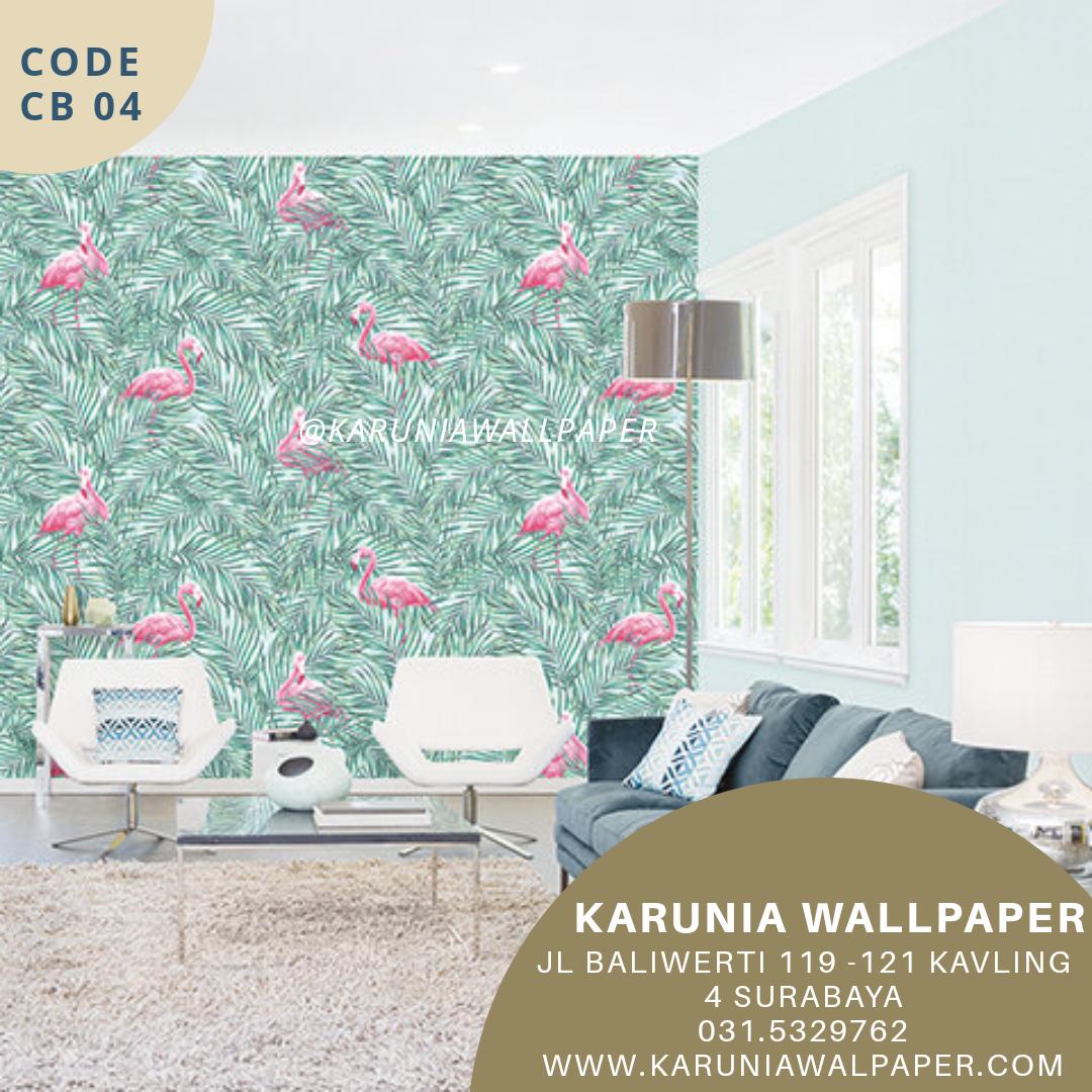 jual wallpaper motif burung flamingo