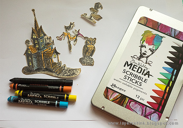 Layers of ink - Halloween Shadow Box Tutorial by Anna-Karin with Dina Wakley Scribble Sticks
