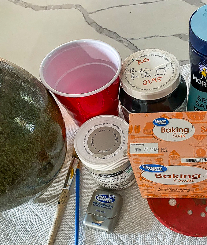 Supplies to make a thrift store faux clay pot