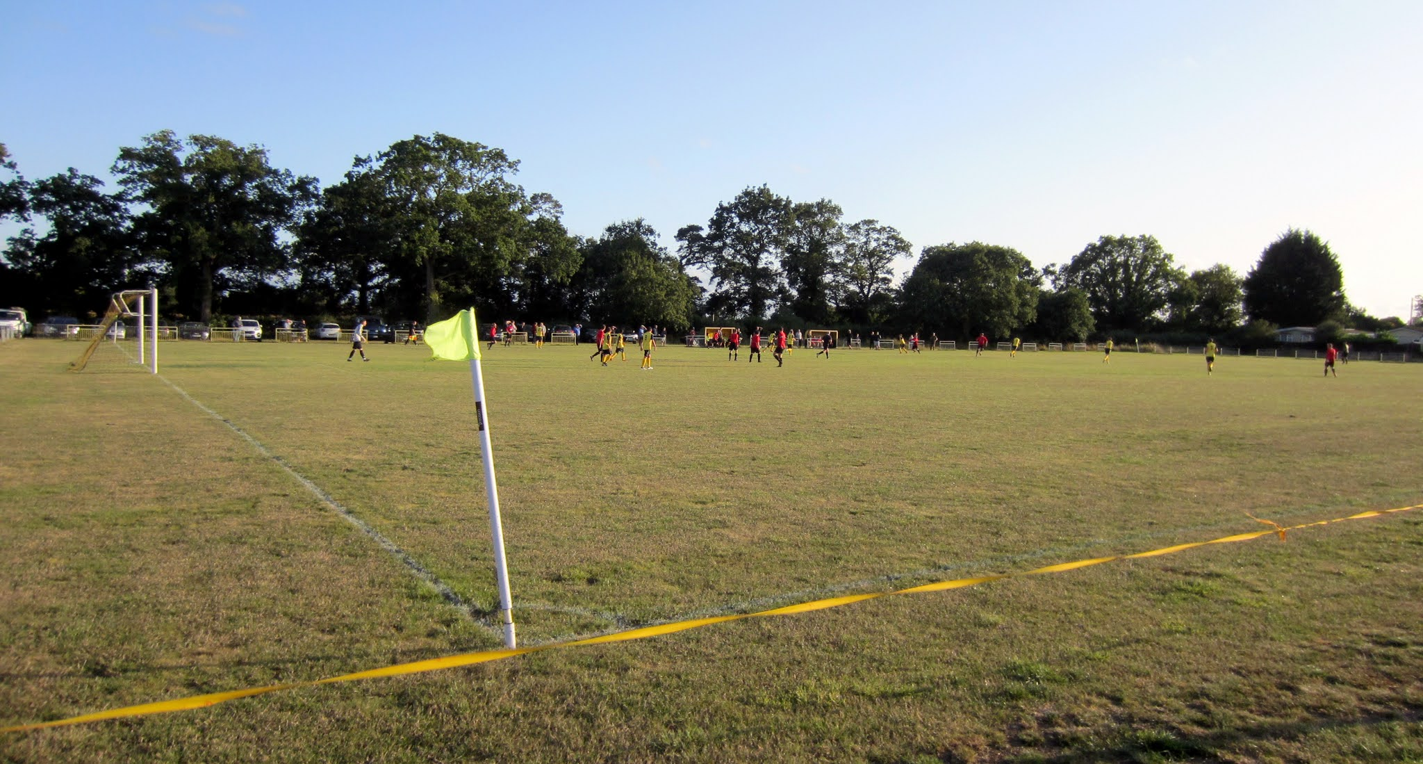 The corner flag and pitch at the Alfred Palmer Memorial Recreation Ground