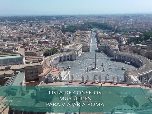 lista de consejos y trucos útiles para viajar a Roma
