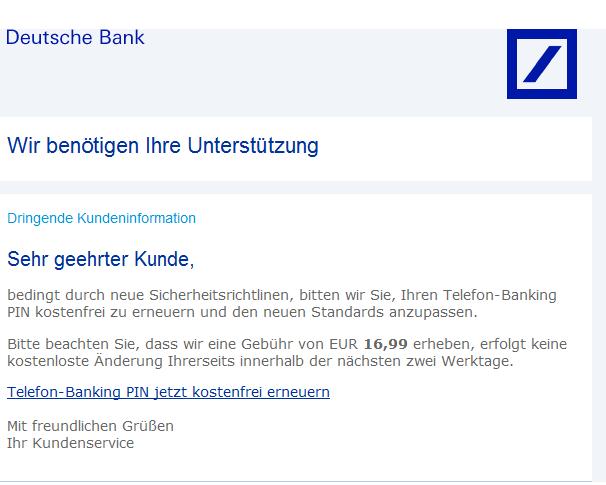 phishing mail alerts deutsche bank dringende kundeninformation. Black Bedroom Furniture Sets. Home Design Ideas